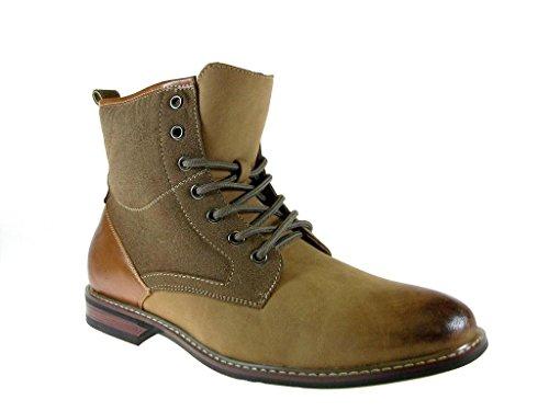 Ferro Aldo Men's 808562 Combined Combat Style Ankle Boots, Brown, 7.5