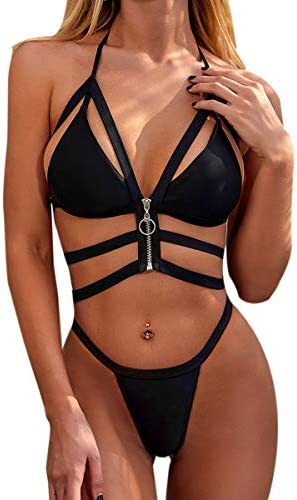 Women Sexy Triangle Bandage Bikini Set Halter Push Up Padded Two Piece Swimsuit Suit for Teen product image