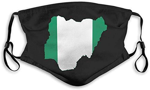 Nigeriaanse vlag kaart unisex anti-vervuiling masker stofmasker met filter masker Small Veelkleurig
