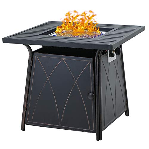 Sophia & William Gas Fire Pit Table 28 Inch 50,000BTU Square Outdoor Propane FirePits 2 in 1...