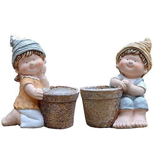 zenggp Couple De Fleurs Cartoon Planteur Multi-Fonctions Planteur Décors De Jardin Créatifs,B