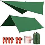 REDCAMP Hammock Rain Fly Tent Tarp Waterproof PU2000mm, 10x10ft Lightweight Rainfly for Outdoor Camping Hiking Backpacking, Green