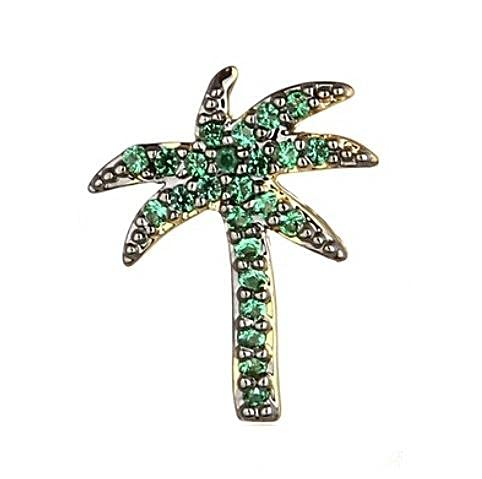 Ohana - Pendiente de palma chapado en oro de 18 quilates con circonitas verdes