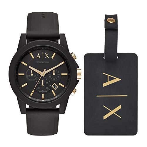 Armani Exchange AX7105 Reloj Armani Exchange Caballero, Correa Silicon Negro, Caratula Negro, Analogo for…