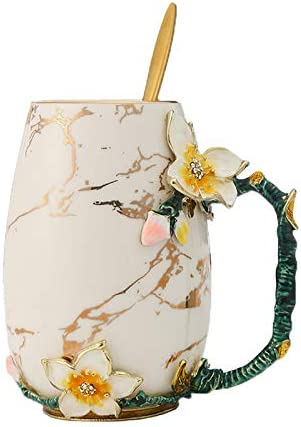 evecase Enamels Butterfly Flower Lead-Free Glass Coffee Mugs Tea Cup with Steel Spoon Set, Personalised Gifts for Women Wife Mum Teacher Friends Christmas Birthday Mothers Valentines Day (Blue)