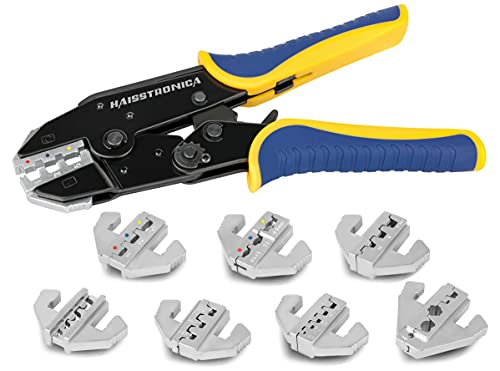 Haisstronica Crimping Tool Set 8PCS-Quick Change Ratchet Wire Crimper Tools for Heat Shrink,Insulated Nylon,Non-Insulated,Ferrule,Cable End,Open Receptacles Connectors,Spark Plug Ignition Wire