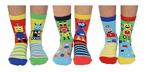 United Oddsocks Robo Socks - 6 Oddsocks para niños EUR 27-30.5, UK 9-12, US 9.5-13