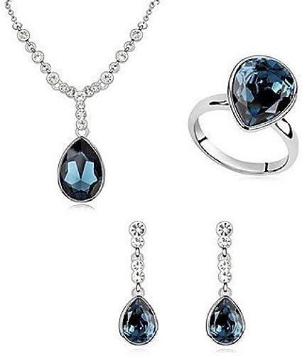 femmes bijoux Set Ensemble de bijoux Cristal Alliage Blanc Bleu Bleu clair Soir¨ e 1set 1 Collier 1 Paire de Boucles d'Oreille Anneaux Cadeaux de mariage , 15