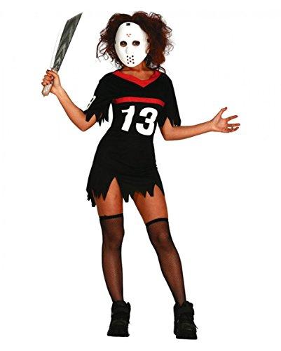 Eishockey Serienkiller Damenkostüm mit Maske für Halloween & Horror-Film Fans M