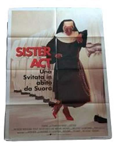 BUENAVISTA Sister Act-UNA SVITATA im Suora Kleid mit Whoopi Goldberg Poster 140X98 Original Cinema Italien zusammengeklappt