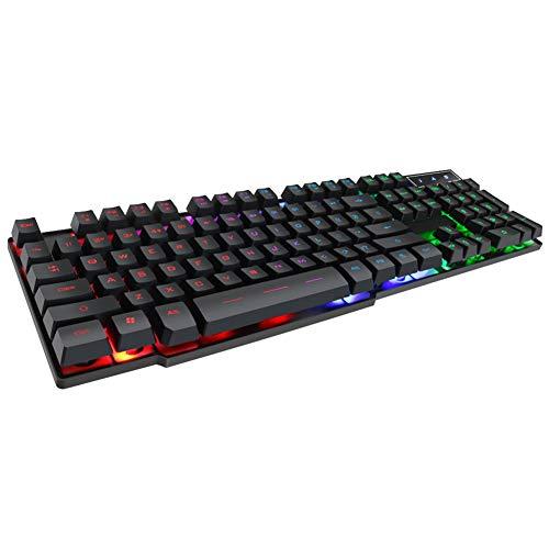 Gaming-Tastatur, USB-Kabel-Tastatur AK-600-Bürotastatur, wasserdichte Tastatur mit 104 Tasten, Bunte Hintergrundbeleuchtung, 19 Tasten ohne Konflikte-Black