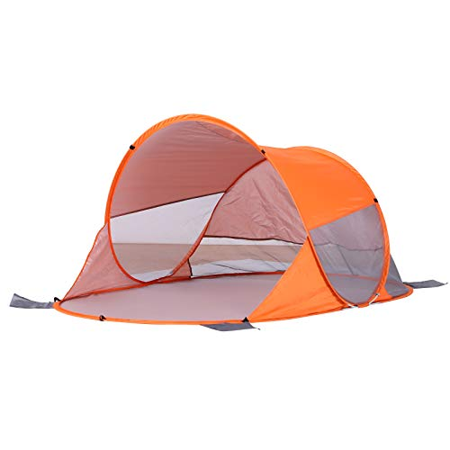 Outsunny 2 Person Pop up Beach Tent Hiking UV Protection Patio Sun Shade Shelter Portable Automatic - Orange
