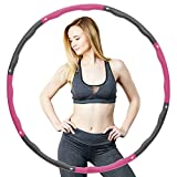 HONEYWHALE Hula Hoop Adult Weighted Hoola Hoops,Detachable 8 Section Sports Exercise Fitness Hula Hoops 1.2 kg for Weight Loss,Massage(Pink)