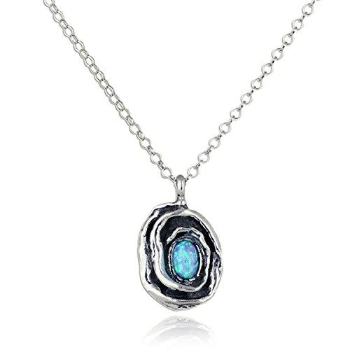 Anhänger, Rose mit künstlichem, blauen Feueropal und 925er-Sterling-Silber-Halskette, 45,7cm + 10,2cm-Verlängerungskette