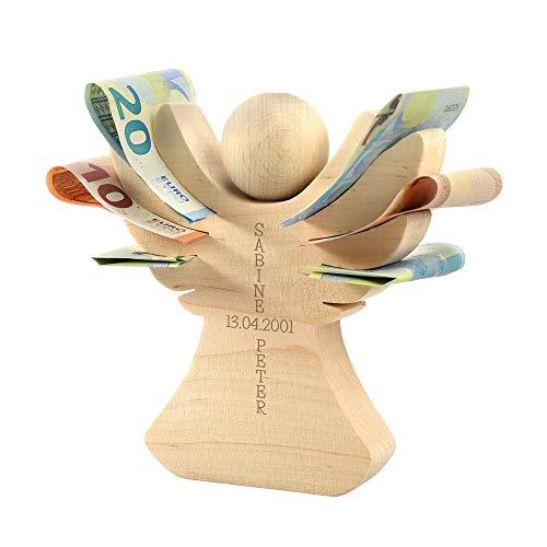 Casa Vivente Holzengel mit Gravur zur Hochzeit, Personalisiert mit Namen und Datum, Verpackung für Geldgeschenke, Hochzeitsgeschenke für Brautpaar