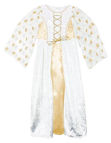 Kinder Engel Lea Kostuum met Sterren - Wit Goud - Kerst Geboorte Speel Jurk 3-4 Years