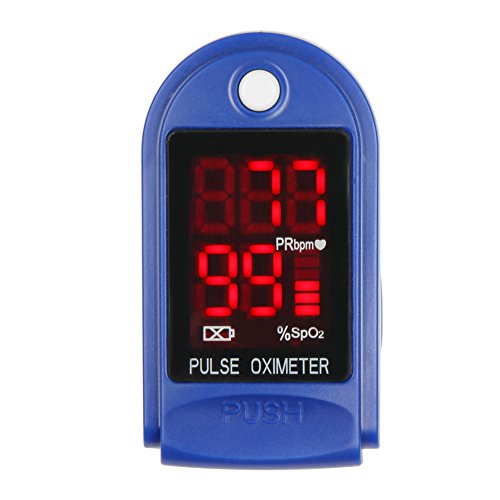 Flexzion Pulse Oximeter CMS-50DL (Blue) Fingertip Oximetry Blood Oxygen SpO2 Monitor Fitness Tracker Health Care Sports Exercise Monitoring System with Digital LED Display Carrying Case and Lanyard