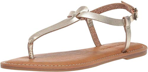Amazon Essentials Women's Casual Thong with Ankle Strap Sandal, Gold, 7.5 B US