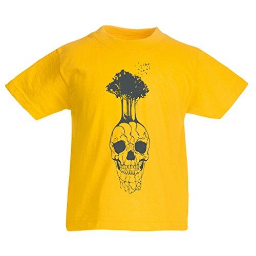 N4341K La Camiseta de los niños El cráneo y el árbol (5-6 Years Amarillo Multicolor)
