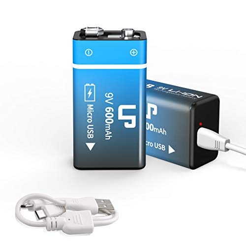battery for usb charges 9V Rechargeable Battery Pack, LP 2-Pack 600mAh Li-ion 9 Volt USB Battery with Micro USB Charging Port for Alarms, Wireless Microphones, Smoke Detectors, Toys, Flashlights, Guitar, Keyboard & More