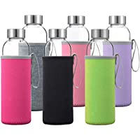 6-Pack Otis Classic Glass Water Bottles with Stainless Steel Lids 18 Oz