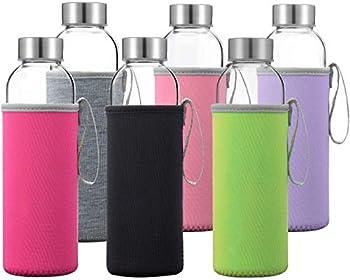 Glass Water Bottles 6 Pack Deluxe Set 18oz - Includes 6 Sleeves Stainless Steel Lids - Kombucha Juice Tea