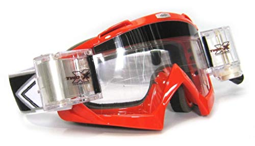 TWO-X Race Crossbrille Roll Off MX Brille rot Motocross Enduro Cross DH Goggle Schmutz Schutzbrille