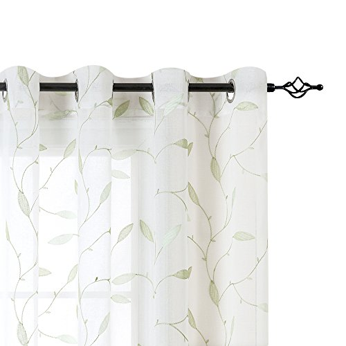 Lazzzy Sheer CurtainsEmbroidered Floral Leaf Voile Drapes for Bedroom Living Room Grommet TopWindow Treatments 2 Panels84InchesGreen on White