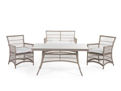 Romantisches Gartenset Sofa 2 Sessel Tisch Rattan Barletta