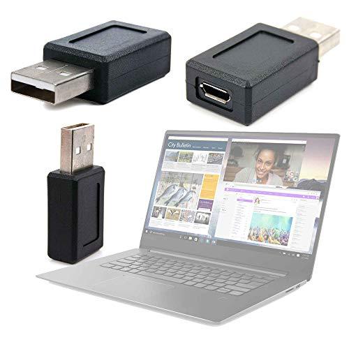 DURAGADGET Adaptador USB (Macho) A Micro USB (Hembra) para Portátil Lenovo ideapad 330-15IKBR, Lenovo ideapad 530S-14IKB, Schneider SCL141CTP Ultrabook, Winnovo V146 Notebook