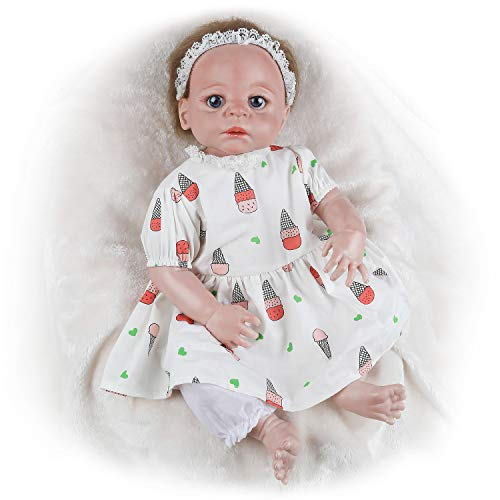 Vollence 55 cm Reborn Baby Doll,Bambole Completamente in Vinile, Bambole realistiche, Bambole per Neonati, Bambole Reali, Bambole realistiche