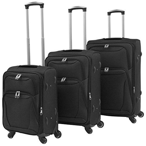 vidaXL 3X Reisekoffer Schwarz Weichgepäck Trolley Handgepäck Kofferset Koffer