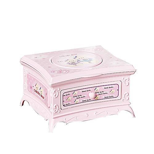 LIUHONGSU Rotación de la Muchacha Caja de música de una Sola Capa gaveta de Almacenamiento con el Regalo del día del Maquillaje Espejo de cumpleaños Regalo de San Valentín (Color : Rosado)