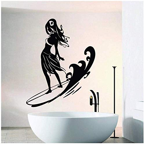 Cool Girl Standing On Surfboard Wandaufkleber Home Wohnzimmer Sport Serie Dekorative Vinyl Wandtattoos Surfen Spiel Mural57X57Cm