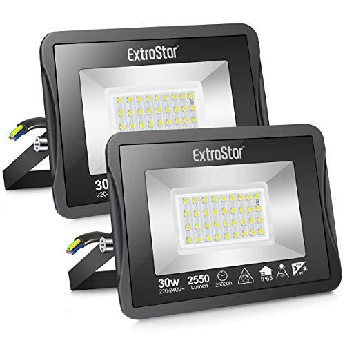 Faretto LED da esterno 30W con Sensore Crepuscolare, Faretto LED da esterno 6500K Faretto LED, IP65 Impermeabile, per Parcheggio, Ingresso, Corridoio, Garage, 2 pack