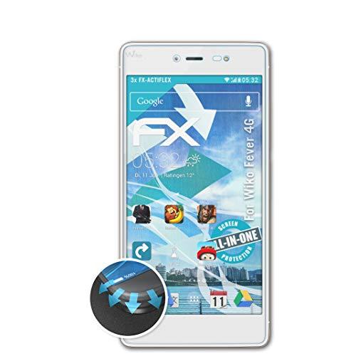 atFolix Schutzfolie kompatibel mit Wiko Fever 4G Folie, ultraklare & Flexible FX Bildschirmschutzfolie (3X)