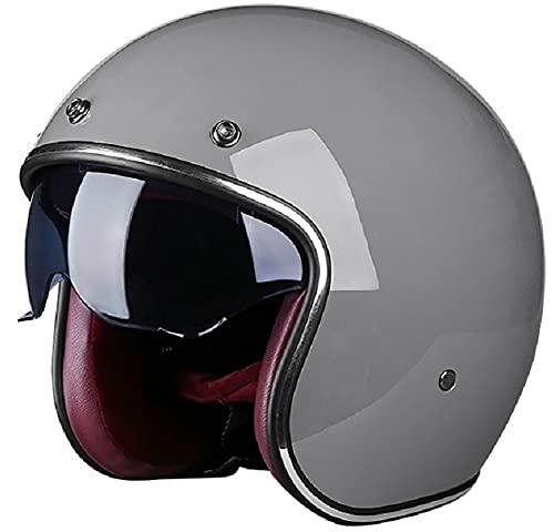 Casco de Moto de Cara Abierta Retro, Medio Casco ECE Homologado, 3/4 Jet Half-Helmet con Gafas y Visera Solar para Unisex Motocicleta Bicicleta Scooterhelmet gray,XL