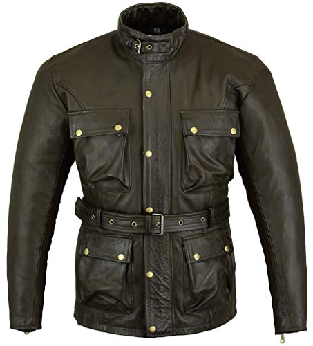 Braun Classic Waxed & Oiled Leather Cowhide Motorcycle Motorbike Jacked Armoured by Bikers Gear UK, Braun, 3XL