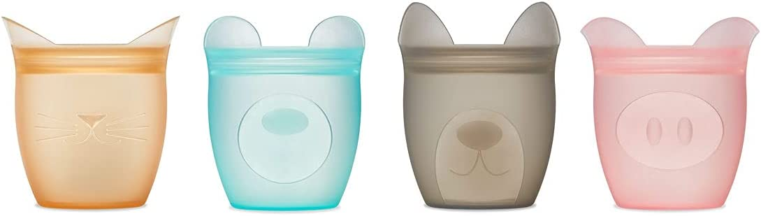 Zip Top Reusable 100% Silicone Baby + Kid Snack Containers- The only containers that stand up, stay open and zip shut! No Lids! Made in the USA - Full Set of 4