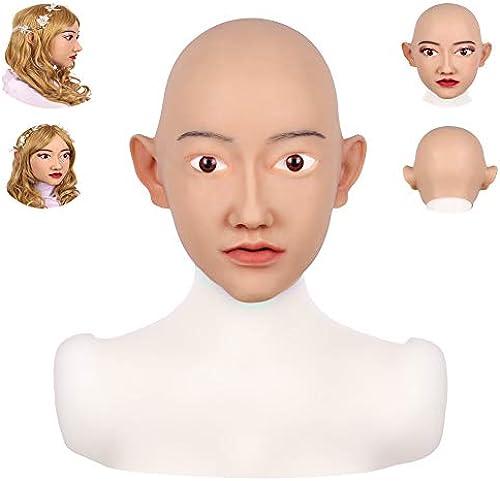 SDMJ Weißhe Silikon Realistische Asien Weißliche Kopfmaske Handgemachtes Gesicht für Crossdresser Transgender Cosplay Halloween Maskerade COS Transvestite