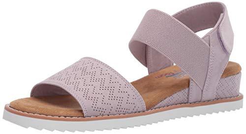 Skechers BOBS Women's Desert Kiss Flat Sandal, Lavender, 6 M US