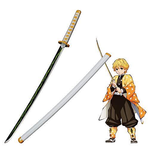 Yongli Sword Demon Slayer: Kimetsu no Yaiba Japanese Anime Kamado Tanjirou Kochou Shinobu Cosplay Replica Sword Game Carbon Steel (Agatsuma Zenitsu)