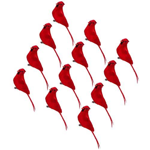 HEALLILY 12Pcs Christmas Cardinal Bird with Clip Realistic Red Cardinal Birds Statue Figures Xmas Tree Decoration
