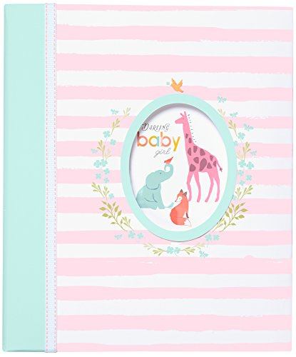 """Carter's Pink Striped Animal Themed 3-Ring Baby Girl Memory Book, 10.125"""" W x 11.5"""" H"""