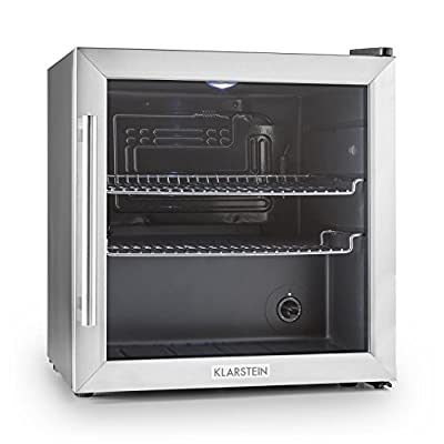 Klarstein Beersafe L Fridge - Refrigerator, Cooler, 50 Litre Capacity, 3 Shelves, 5 Settings, Reversable Door, Stainless Steel, 2 Inserts, LED, Easy to Clean, Silver