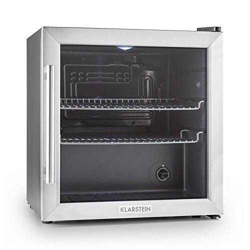 Klarstein Beersafe L - Minibar, Mini-Kühlschrank, Getränkekühlschrank, leise, 42 dB, Edelstahl, Glastür, 5-stufiger Temperaturregler, 2 Einschübe, 47 Liter, Silber-schwarz