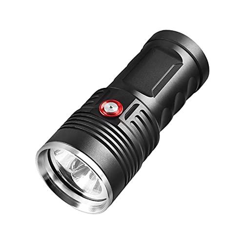 GQTYBZ Linterna de Buceo, Linterna LED de Alta Potencia de 8000 LúMenes, Linterna Potente Recargable por USB SúPer Brillante, Aventura Al Aire Libre, Acampada, Pesca, Linterna de Buceo