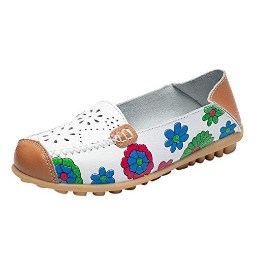 DAIFINEY Damen Mokassin Slipper Loafers Retro Comfort Schuhe Hüttenschuhe Schlupfschuh Slip on modisch Freizeitschuh Bequeme Flache(6-Weiß/White,39)