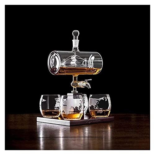 QJTZ Decantador Conjuntos con 4 Gafas de Whisky, 1100 ml Herramientas de Barra Barril Whisky Jarfe Alcohol Decanters Set 0515