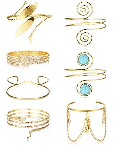 XCOIN 7PCS Upper Arm Bracelet for Women Arm Cuff Open Armlets Minimalist Simple Coil Bangle Adjustable Armband Set,Gold